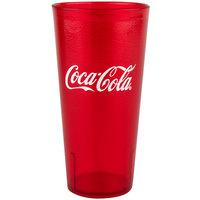 GET 6624-RC Coca-Cola® Textured 24 oz. Red SAN Plastic Tumbler - 72/Case
