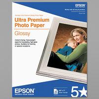 Epson S042182 8 1/2 inch x 11 inch Bright White 79# Ultra-Premium Glossy Photo Paper - 25/Sheets