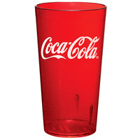 GET 6616-RC 16 oz. Red Coca-Cola® SAN Plastic Pebbled Tumbler - 72/Case