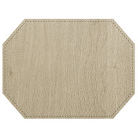 H. Risch, Inc. Sherwood 12 inch x 16 inch Customizable Buff Premium Sewn Octagon Placemat