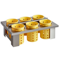 Steril-Sil E1-BS60E-YELLOW Drop in Silverware Holder with 6 RP-25 Yellow Plastic Cylinders