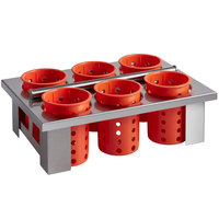 Steril-Sil E1-BS60E-ORANGE Stainless Steel Drop-In Silverware Holder with 6 RP-25 Orange Plastic Cylinders
