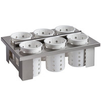 Steril-Sil E1-BS60E-WHITE Stainless Steel Drop-In Silverware Holder with 6 RP-25 White Plastic Cylinders