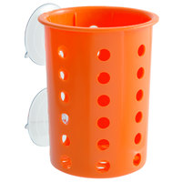 Steril-Sil PN1-ORANGE Orange Plastic Suction Cup Silverware and Condiment Cylinder