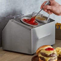 Steril-Sil CC-LTC-2SW 2-Compartment Insulated Stainless Steel Ice-Cooled Condiment Dispenser with 30 oz. Containers