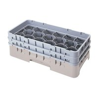 Cambro 17HS318184 Camrack 3 5/8 inch High Customizable Beige 17 Compartment Half Size Glass Rack