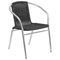 Flash Furniture TLH-020-BK-GG 29 inch Black Rattan Indoor / Outdoor Stackable Chair with Aluminum Frame