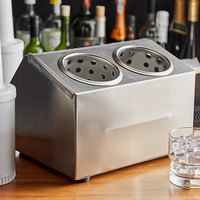 Steril-Sil CC-LTC-2BR 2-Hole Stainless Steel Insulated Ice-Cooled Countertop Condiment Dispenser / Bottle Rail with Stainless Steel Cylinders