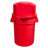 Rubbermaid BRUTE 44 Gallon Red Trash Can and Dome Top Lid