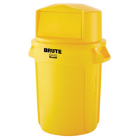 Rubbermaid BRUTE 32 Gallon Yellow Trash Can and Dome Top Lid