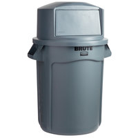 Rubbermaid BRUTE 32 Gallon Gray Trash Can and Dome Top Lid