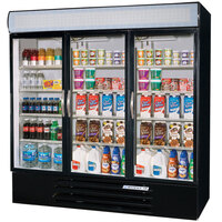 Beverage Air MMR72-1-B-LED Marketmax 75 inch Three Section Glass Door Black Merchandising Refrigerator with LED Lighting - 72 Cu. Ft.
