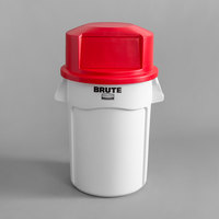 Rubbermaid BRUTE 32 Gallon White Trash Can and Red Dome Top Lid