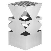 Eastern Tabletop 1543 LeXus 8 inch x 8 inch x 15 inch Solid Stainless Steel Cube with Fuel Shelf and Grate
