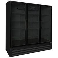 Master-Bilt BLG-74-HGPR 78 inch Black Glass Door Remote Condenser Merchandiser Freezer