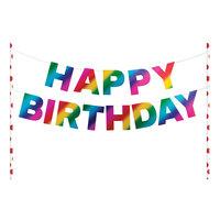 Creative Converting 331798 9 inch x 9 inch Rainbow Happy Birthday Cake Topper Banner