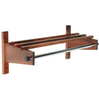 CSL TCOMB-61120CM 120 inch Cherry Mahogany Hardwood Wall Mount Coat Rack with Hardwood Top Bars and 5/8 inch Hanging Rod