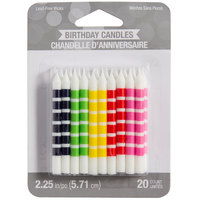 Creative Converting 104211 Assorted Color Striped Candles - 20/Pack