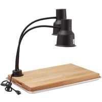 Avantco Carving Station Kit with 24 inch Black Dual Arm Heat Lamp, Cutting Board, and Drip Pan- 120V, 500W