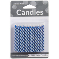 Creative Converting 080400034 Blue Spiral Candles - 24/Pack