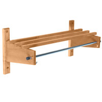 CSL TCOMB-61120L 120 inch Light Oak Hardwood Wall Mount Coat Rack with Hardwood Top Bars and 5/8 inch Hanging Rod