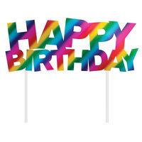 Creative Converting 331795 6 inch x 7 inch Rainbow Happy Birthday Cake Topper