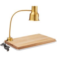 Avantco Carving Station Kit with 24 inch Gold Heat Lamp, Cutting Board, and Drip Pan- 120V, 250W