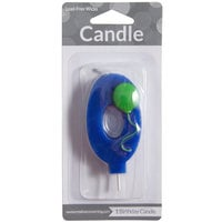 Creative Converting 104200 3 inch Blue 0 inch Birthday Candle with Green Balloon