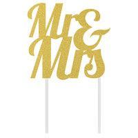 Creative Converting 335052 9 1/2 inch x 7 inch Gold Glitter Mr. & Mrs. Cake Topper