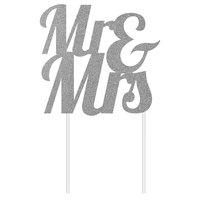 Creative Converting 335051 9 1/2 inch x 7 inch Silver Glitter Mr. & Mrs. Cake Topper