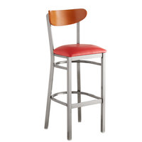 Lancaster Table & Seating Boomerang Bar Height Clear Coat Chair with Red Vinyl Seat and Cherry Back
