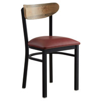 Lancaster Table & Seating Boomerang Black Chair with Burgundy Vinyl Seat and Driftwood Back