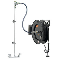 Equip by T&S 5HR-242-01WE1 50' Open Hose Reel System with Wall Mount Base Faucet, Swing Wall Bracket, and High Flow Spray Valve