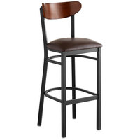 Lancaster Table & Seating Boomerang Bar Height Black Chair with Dark Brown Vinyl Seat and Antique Walnut Back