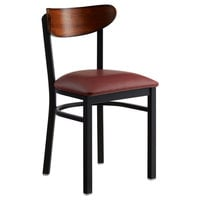 Lancaster Table & Seating Boomerang Black Chair with Burgundy Vinyl Seat and Antique Walnut Back