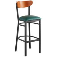 Lancaster Table & Seating Boomerang Bar Height Black Chair with Green Vinyl Seat and Cherry Back