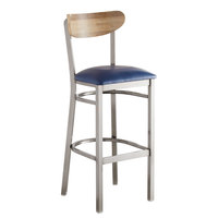Lancaster Table & Seating Boomerang Bar Height Clear Coat Chair with Navy Vinyl Seat and Driftwood Back