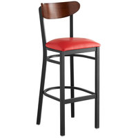 Lancaster Table & Seating Boomerang Bar Height Black Chair with Red Vinyl Seat and Antique Walnut Back
