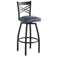 Lancaster Table & Seating Cross Back Bar Height Black Swivel Chair with Navy Vinyl Seat