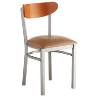 Lancaster Table & Seating Boomerang Clear Coat Chair with Light Brown Vinyl Seat and Cherry Back