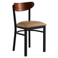 Lancaster Table & Seating Boomerang Black Chair with Light Brown Vinyl Seat and Antique Walnut Back