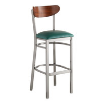 Lancaster Table & Seating Boomerang Bar Height Clear Coat Chair with Green Vinyl Seat and Antique Walnut Back