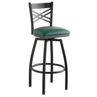 Lancaster Table & Seating Cross Back Bar Height Black Swivel Chair with Green Vinyl Seat