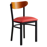 Lancaster Table & Seating Boomerang Black Chair with Red Vinyl Seat and Cherry Back