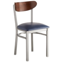 Lancaster Table & Seating Boomerang Clear Coat Chair with Navy Vinyl Seat and Antique Walnut Back