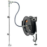 Equip by T&S 5HR-242-01XE2 50' Open Hose Reel System with Single Temperature Wall Mount Base Faucet, Multi-Fit Wall Bracket, and High Flow Spray Valve