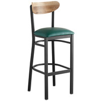 Lancaster Table & Seating Boomerang Bar Height Black Chair with Green Vinyl Seat and Driftwood Back