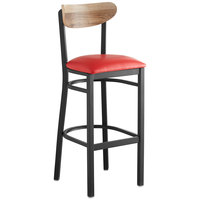 Lancaster Table & Seating Boomerang Bar Height Black Chair with Red Vinyl Seat and Driftwood Back