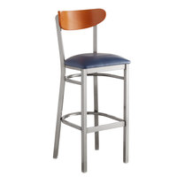 Lancaster Table & Seating Boomerang Bar Height Clear Coat Chair with Navy Vinyl Seat and Cherry Back