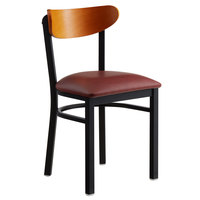 Lancaster Table & Seating Boomerang Black Chair with Burgundy Vinyl Seat and Cherry Back